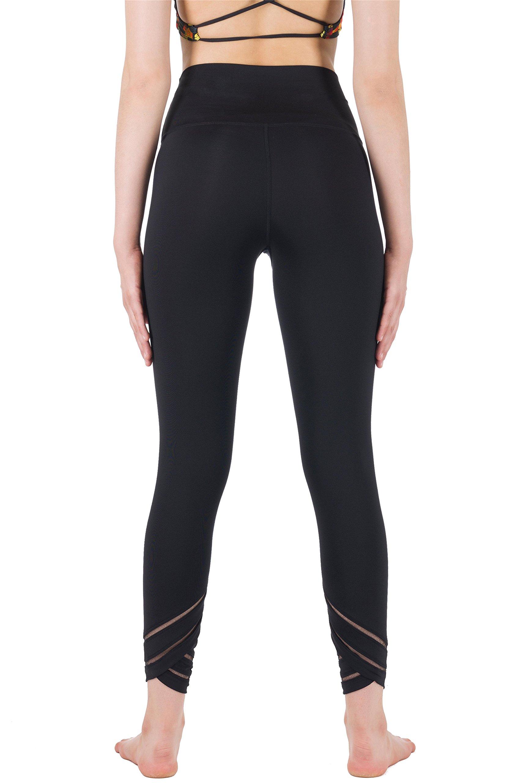 icyzone Womens Capri Workout Pants Yoga Pants Active Running Leggings (L, BLACK)