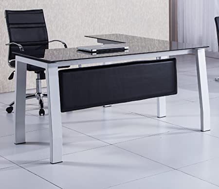 Mesa escritorio en L de 150cm con cristal negro para oficina o despacho.: Amazon.es: Hogar