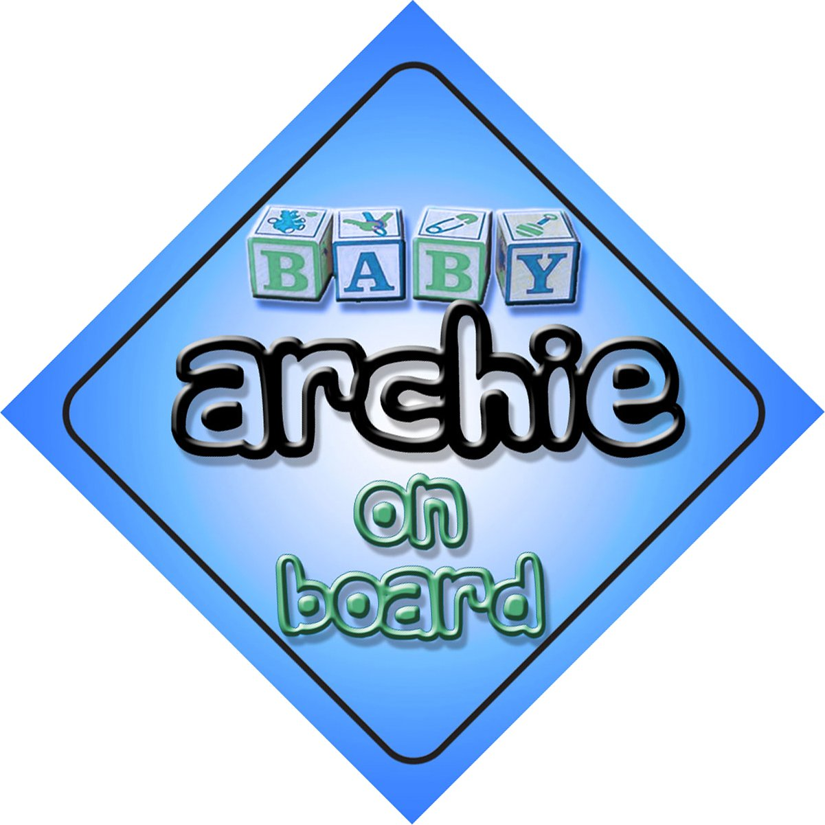 Baby Boy Archie on board novelty car sign gift / present for new child / newborn baby Quality Goods Ltd