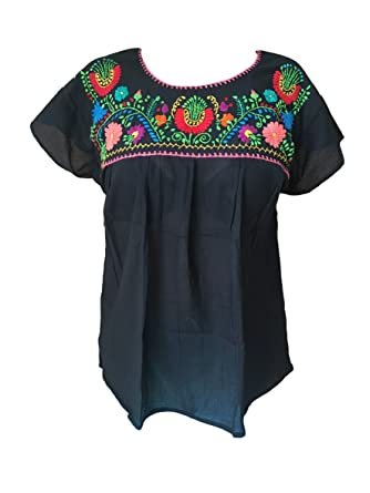 5a767813eb86b2 Floral Mexican Peasant Blouse - Authentic Embroidered Tehuacan Blouse -  Handmade in Mexico - Blusa Campesina