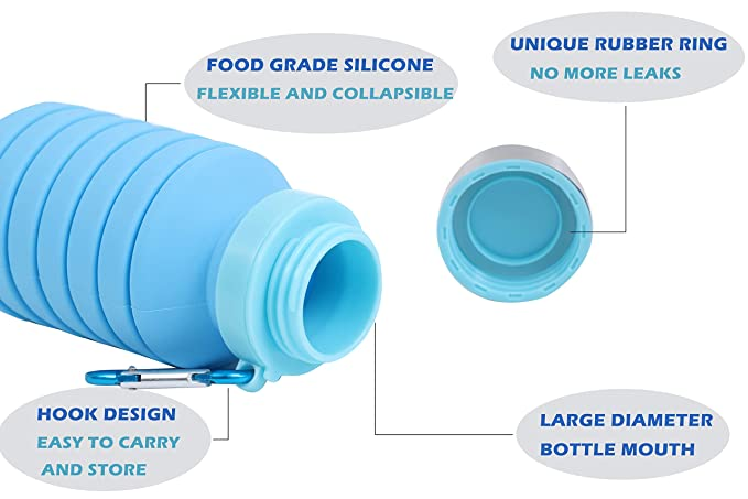 ChukDan Collapsible Silicone Water Bottle for Traveling and Sporting BPA-Free FDA-Approved Flexible Leak-Proof Foldable Water Bottle