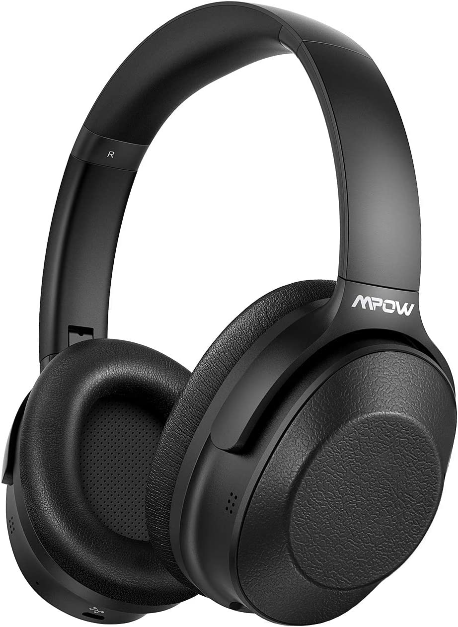 Mpow H12 Hybrid Active Noise Cancelling Headphones, Wireless Over Ear Bluetooth Headphones, All Day Playtime, Hi-Fi Sound Deep Bass, Soft Protein Ear Cups, for Travel, Home Office