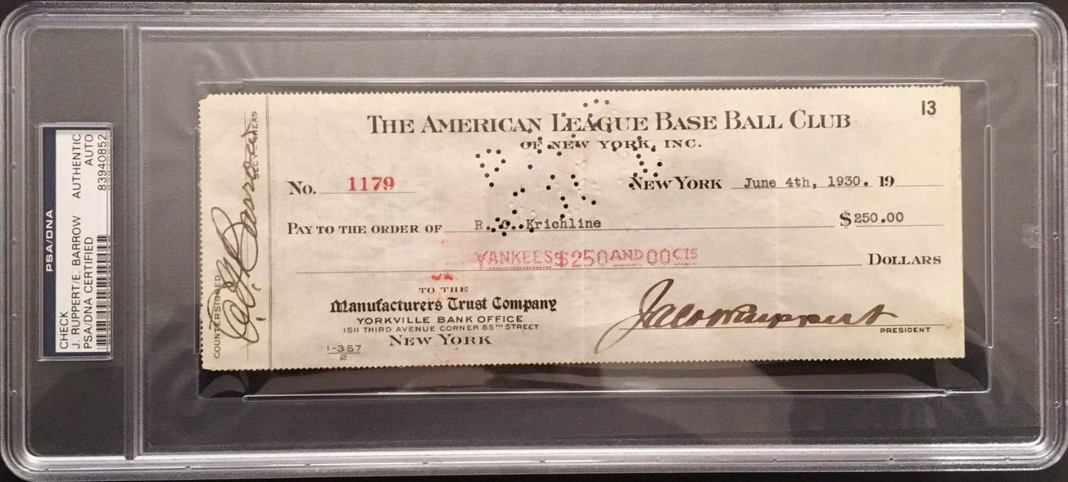 Jacob Ruppert/Ed Barrow Autographed Signed 1930 Yankee Payroll Check PSA/DNA Authentic Slabbed.