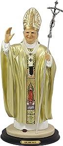Ebros Large Venerable Pope John Paul II with Papal Ferula Crucifix in Gold Robe Statue 16.75
