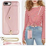 ZVE Wallet Case Apple iPhone 8 Plus iPhone 7 Plus, 5.5 inch, Crossbody Chain Case Credit Card Holder Slot Handbag Purse Case Apple iPhone 8/7 Plus 5.5 inch - Rose Gold