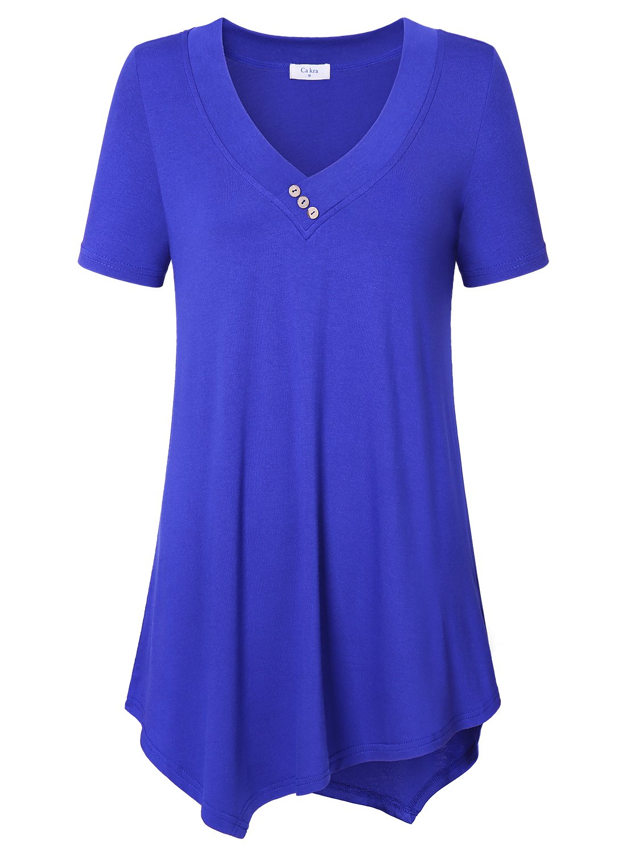 Plus Size Blue Tops, Ca Kra Women's Sexy V-Neck Stylish Short Sleeve Tunic Tops Flattering Blouses, Blue 3XL