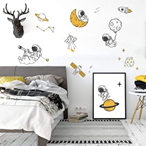 Astronaut Spaceman Wall Decals, Cartoon Universe Planet Wall Stickers Peel and Stick, ULENDIS Spaceship UFO Wall Decor Outer Space Rocket Wall Murals for Kids Bedroom Nursery Classroom Decoration