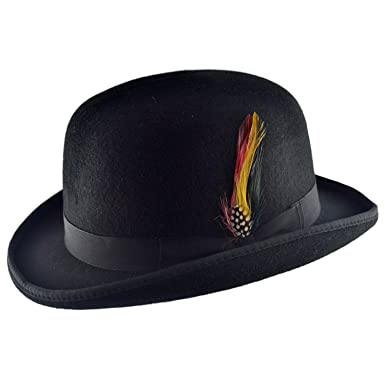 de81f1f08e59ce Amazon.com: Wool Bowler Hat with Removable Feather - Derby Hat: Clothing