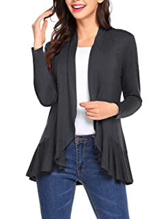 a0e1fff744 Bloggerlove Women s Open Front Cardigan Casual Long Sleeve Draped Ruffles  Knit Cardigan Breathable Women Cardigan