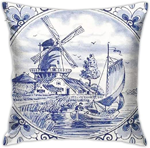 Sxboxing Decorative Throw Pillow Covers 18x18 Inches Christmas Square Throw Pillow Cases For Sofa Bedroom Car Nederland Cute Vintage Dutch Windmill Sailboat Delft Blue The Home Kitchen