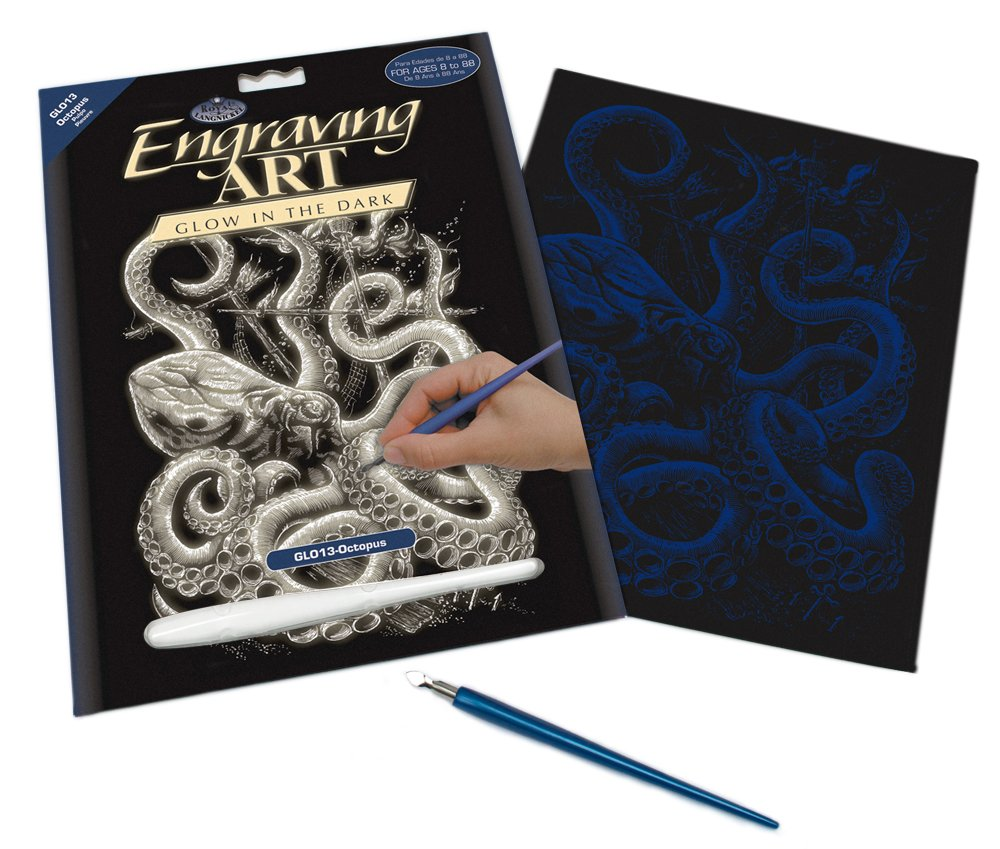 Royal /& Langnickel Glow In The Dark Engraving Art A4 Size Octopus Designed Painting Set