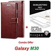 Goelectro Samsung Galaxy M30 / Galaxy M30 (Combo Offer) Leather Dairy Flip Case Stand with Magnetic Closure & Card Holder Cover + Tempered Glass Full Screen Protection (Clear) (Brown)