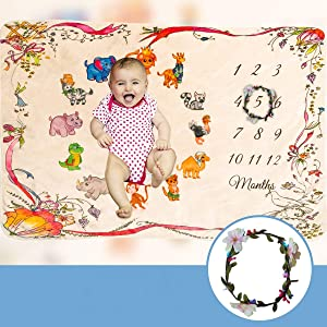 Baby Monthly Premium Milestone Blanket Cute Animal Print Extra Soft 40 x 60 inches Flannel Fleece Bonus Floral Wreath Unisex Infant Babies Photo Props Backdrop Gift Newborn to 12 Months Girl or Boy