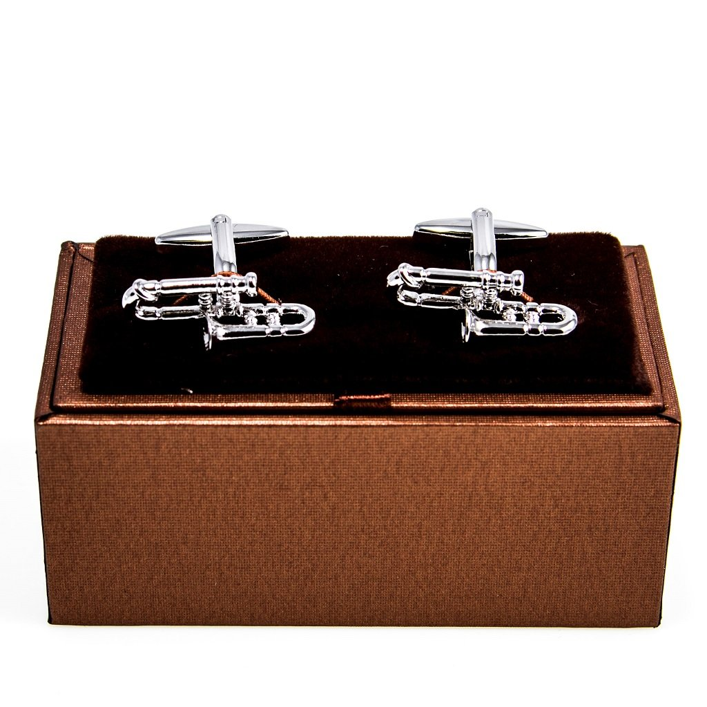 MRCUFF Trombone Pair Cufflinks in a Presentation Gift Box & Polishing Cloth