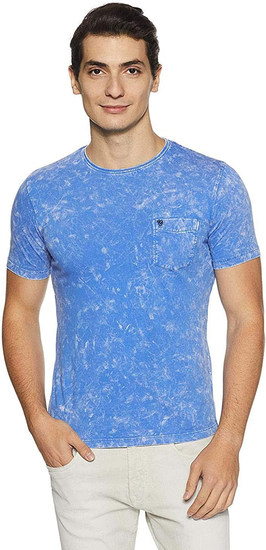 Indian Handicrfats Export Blue Printed Regular Fit Cotton Mens T-Shirt