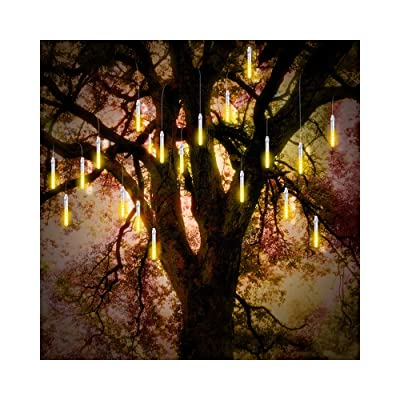 ohCome Led Tube Star Flashing Starry Lights 10cm 10 Spiral Tubes 120 LEDs Waterproof Flashing String Lights for Wedding Halloween Christmas Garden Trees Home Decor, Support 3 Sets Hook (WarmWhite) : Garden & Outdoor