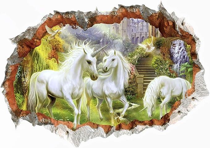 Einhorn Pferd Mädchen Kinderzimmer Märchen Zauberwelt Wandaufkleber WandTattoo