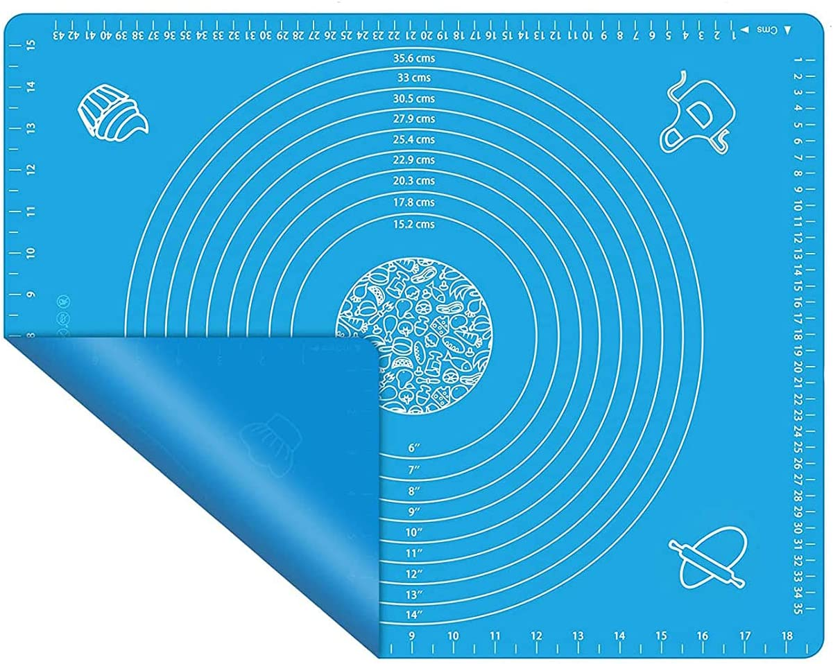 Silicone Baking Mats, Multi-Purpose Food Grade Silicone Placemat, Non Stick Silicon Liner for Bake Pans, for Making Macarons, Pastry, Pizza, Bread (large, blue)