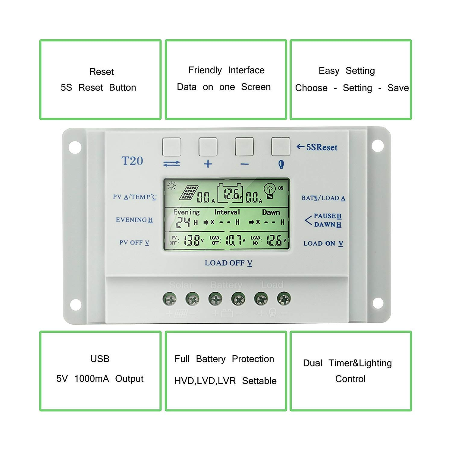 T10//20//30//40 OOYCYOO 10A 30A 40A MPPT Solarladeregler 12 V//24 V mit LCD-Display Display T-Serie 20A