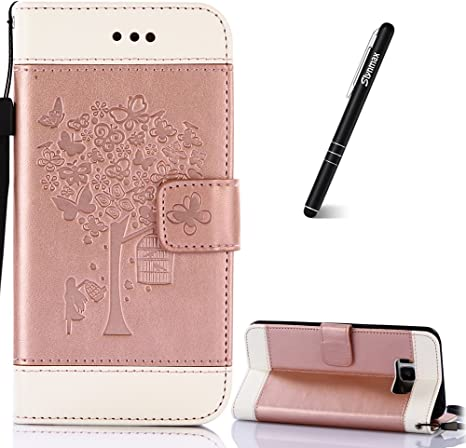 PU Leather Notebook Wallet Case with Magnetic Closure Kickstand Function Card Holder and ID Slot Slim Flip Protective Skin Case Cover for Samsung Galaxy S8 Plus Samsung Galaxy S8 Plus Rose Case