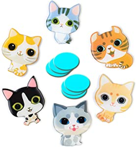 Cute Pet Cat Refrigerator Magnets Cartoon Fridge Magnets 6 Pcs Decorate Family Living Room Bedroom Kitchen Bathroom Washing Machine Cupboard for Adults Children Boys and Girls plus 6 Pcs Iron Sheet