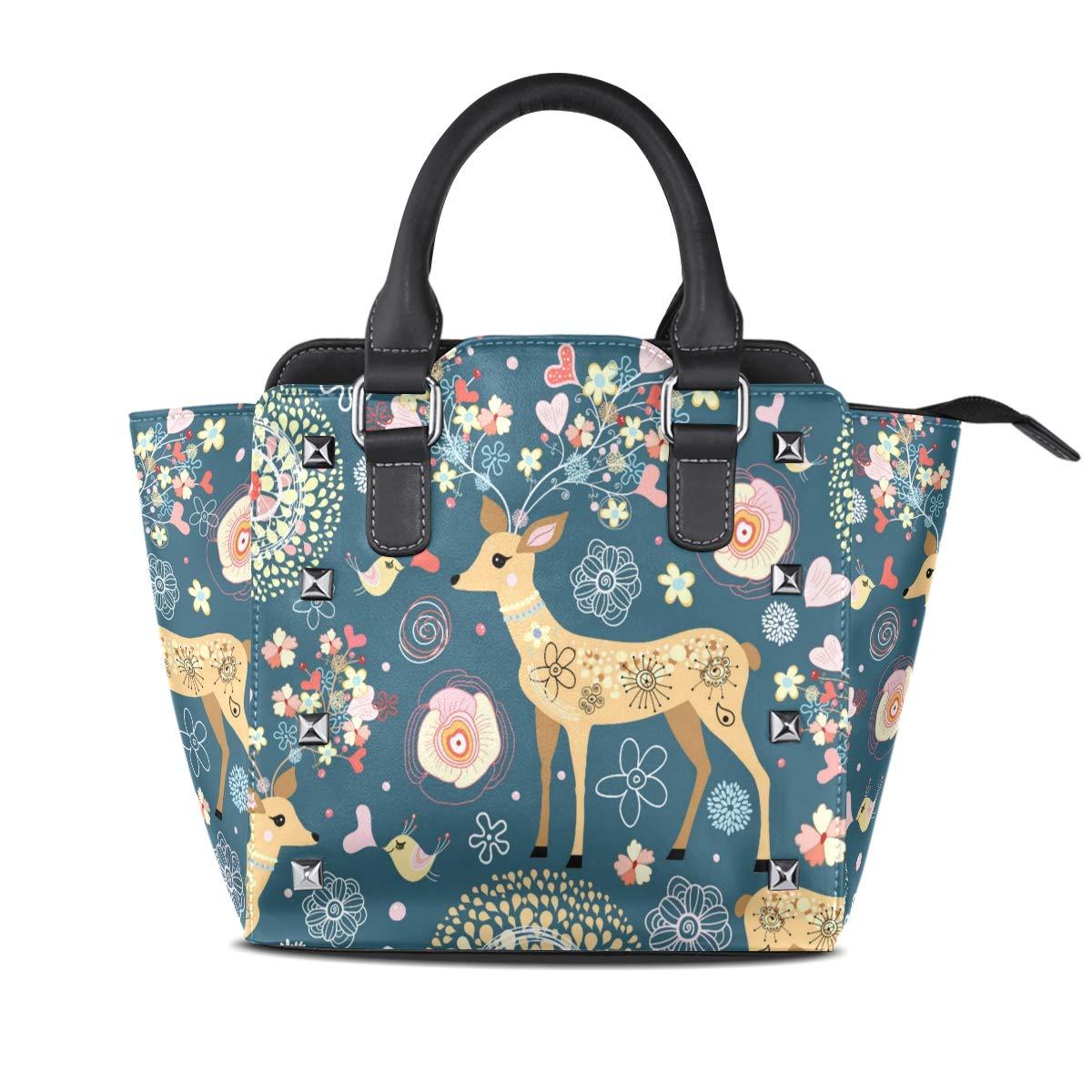 Design1 Handbag Charming Deer Genuine Leather Tote Rivet Bag Shoulder Strap Top Handle Women