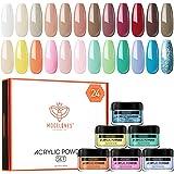 Modelones 24 Pcs Macaron Acrylic Powder Set, 24 Colors Professional Polymer Colorful Set No Nail Lamp Needed