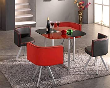 Modern Compact Space Saver Dining Table With Chairs (Red u0026 Black)