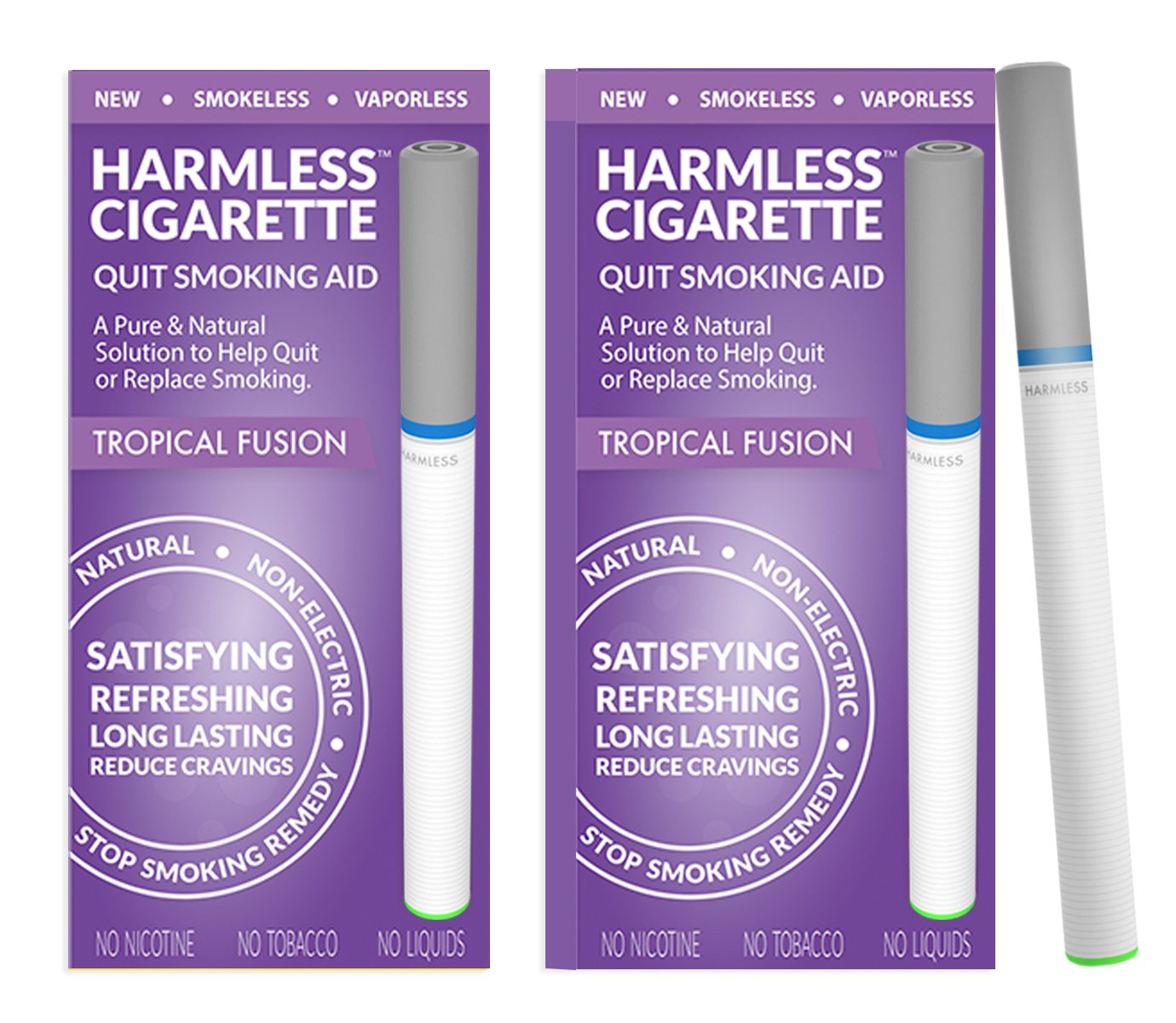 Harmless Cigarette/Stop Smoking Aid/4 Week Quit Kit/Includes FREE Quit Smoking Support Guide (2 Pack, Tropical Fusion)