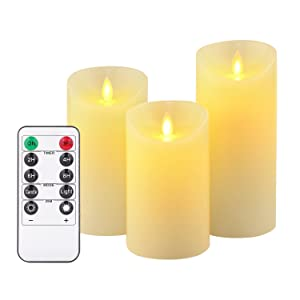 "Flameless Candles, LED Candles 3 Pieces Set 5""6"" H (3.15""D) Flashing Flame with Remote Control and Timed Real Wax Column 