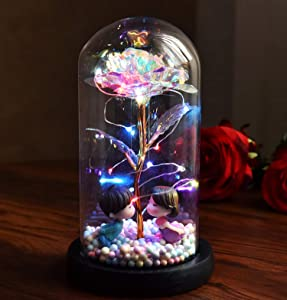 Galaxy Flower Rose Gift - Beauty and The Beast Rose in Glass Dome Enchanted Infinity Crystal Glass Rose Kawaii Aesthetic Room Decor Wedding Anniversary for Her Wife Valentines Mom