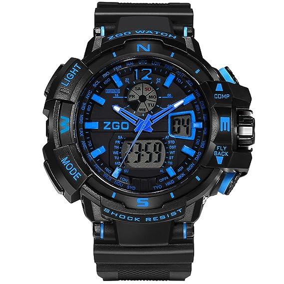 Big Face High End Popular Niños analógico reloj digital para niños azul: Amazon.es: Relojes