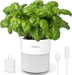 """Self Watering Plant Pot Indoor, Relassy 7"""" Planter for Plants, Smart Pots for Flower, Herbs, Succulents, for Home Decor, Table (White)"""