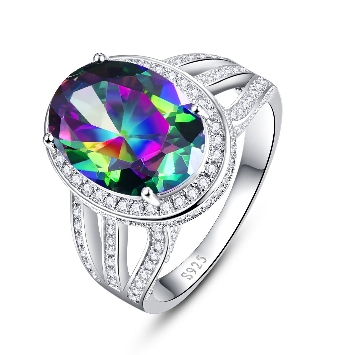 BONLAVIE Oval Created Mystic Rainbow Topaz White Cubic Zirconia CZ Engagement Ring 925 Sterling Silver 7