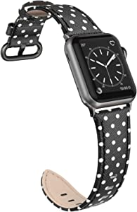 SWEES Leather Band Compatible for Apple Watch 38mm 40mm, Thin Dressy Elegant Genuine Leather Straps Compatible Apple Watch iWatch Series SE 6 5 4 3 2 1 Sport Edition Women Mini Dots