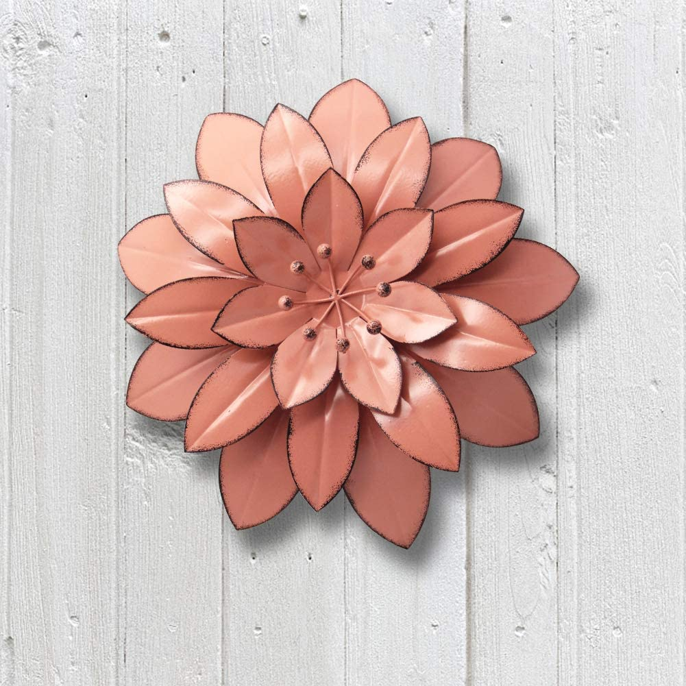 "Juegoal 11.5"" Large Metal Flower Wall Art Decor for Indoor Outdoor Home Bedroom Living Room Office Garden, Pink"