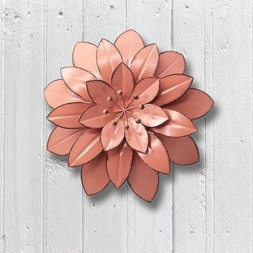 Juegoal 11 5 Large Metal Flower Wall Art Decor For Indoor Outdoor Home Bedroom Living Room Office Garden Pink