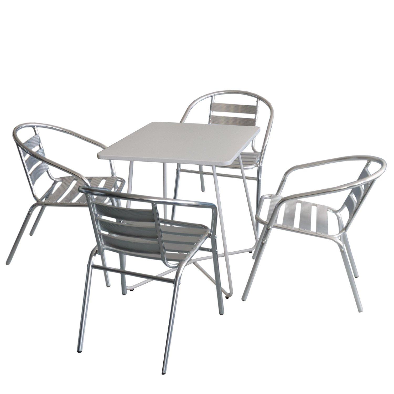 5tlg. Balkonmöbel Set Bistrotisch, Metall, 60x60cm, Weiß + 4x ...