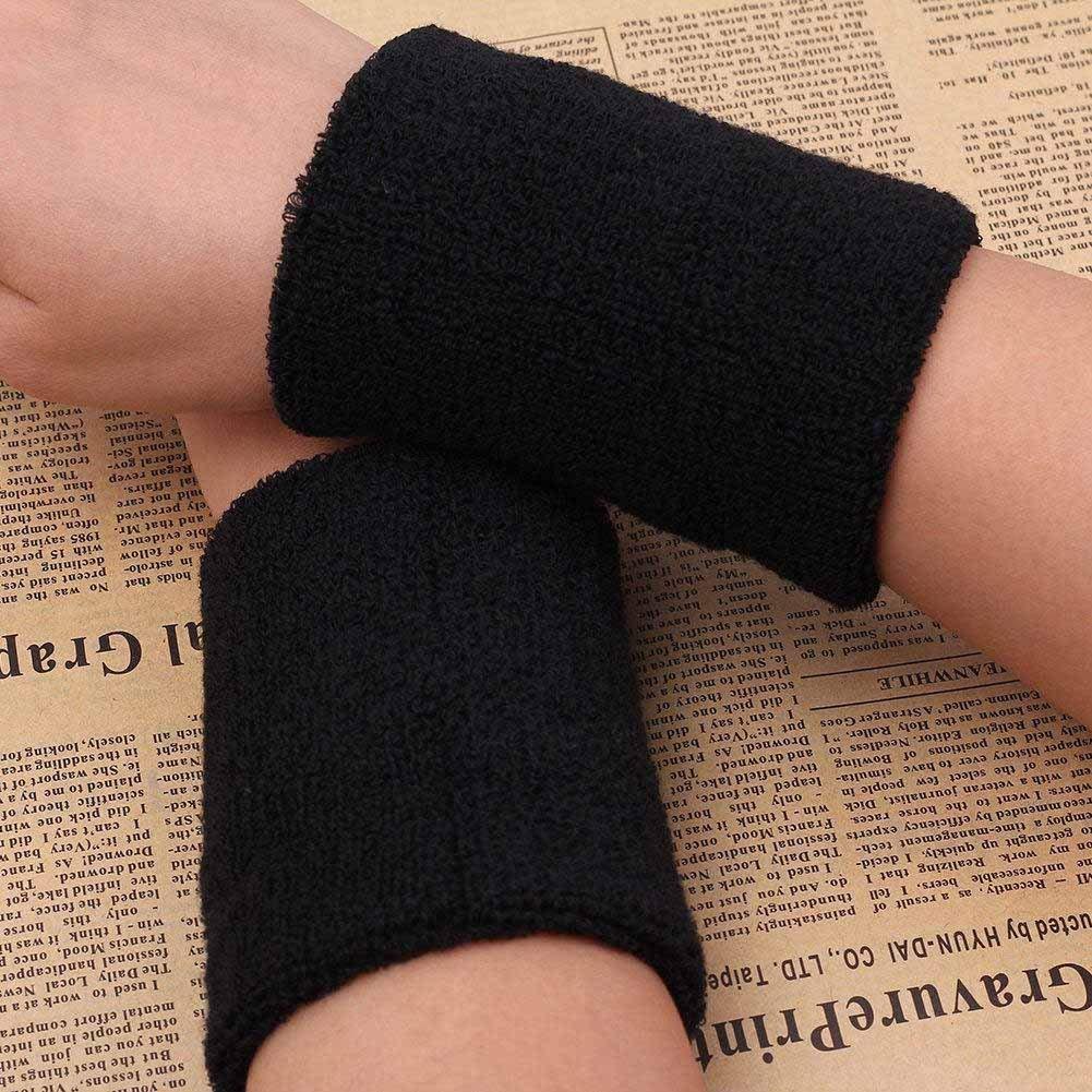 2X Unisexe Coton /Élastique Bandeau de Tennis Tennis Sport Poignets Brace Support Gym Fitness Bracelets Noir Utile et Pratique Li-ly