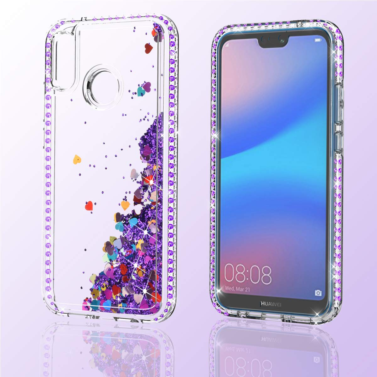 ZingCon Suit for Huawei Nova 3E(not Nova 3) Phone Case,Huawei P20 Lite Glitter Case with Bling Quicksand Sparkle Rhinestone, Shockproof Hybrid Hard PC ...