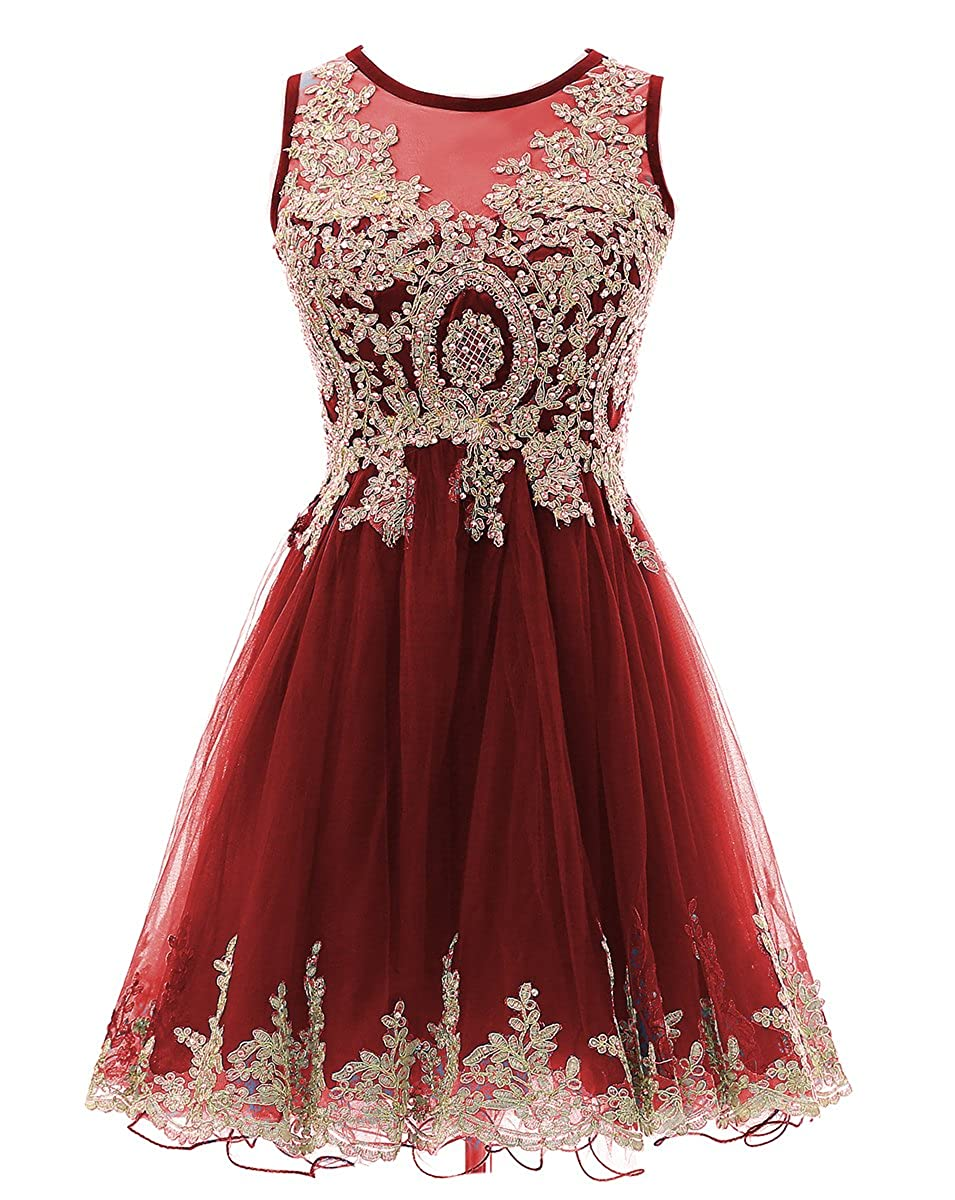 Burgundy HEIMO gold Lace Beaded Homecoming Dresses Short Sequined Appliques Cocktail Prom Gowns H130