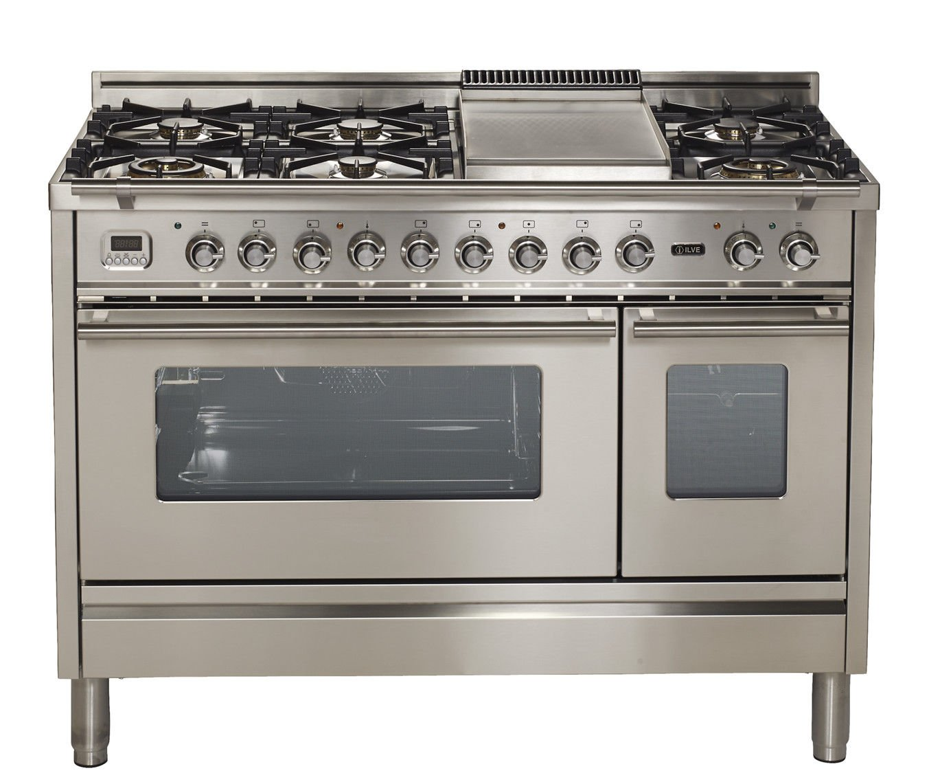 "Ilve UPW120FDMPI Pro Series 48"" Dual Fuel Double Oven Range 7 Burners Griddle Convection Storage Drawer Stainless Steel"