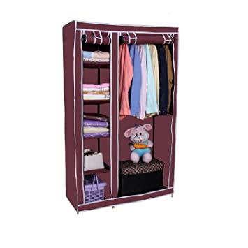 Styleys Folding Wardrobe Cupboard Almirah Foldable Storage Rack Collapsible  Cabinet (Wine Red)