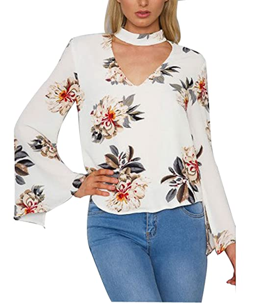 cc763cd0fbaee Casual Floral Print Long Sleeve Women Choker Neck V Shirt Blouse ...