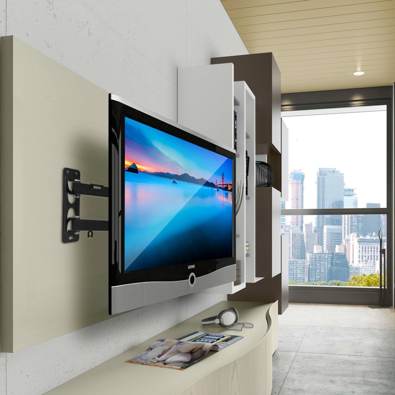 SIMBR Soporte de pared para TV de 10-55 pulgadas (25 a 140 cm) LED / LCD / Plasma /curvada TV Extensible Inclinable y Giratorio Máx. 35 kg VESA Máx. 400x400mm Negro: Amazon.es: Electrónica
