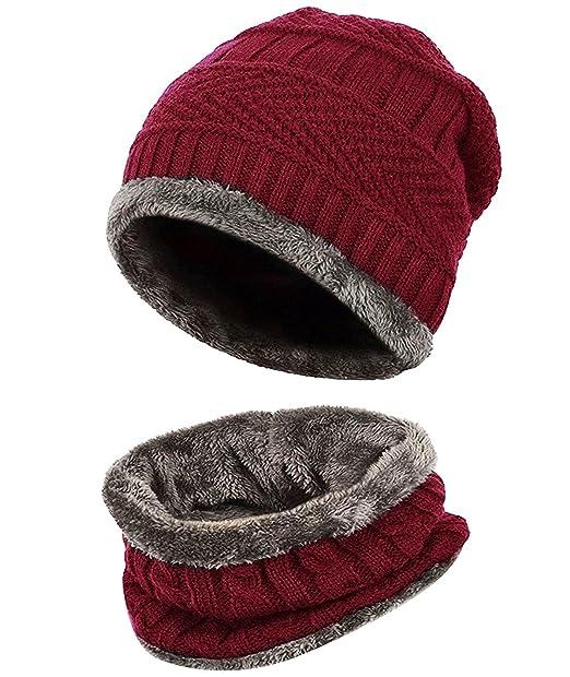 6293533920c76 Loritta - Juego de bufandas de invierno para hombre con sombrero de punto  cálido y bufanda