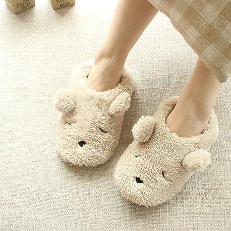 6c7af6a0e6e9f2 CDDLR Womens Indoor Warm Fleece Plush Thermal Slippers Ladies Girls Cartoon  Bear Non-Slip Footwear