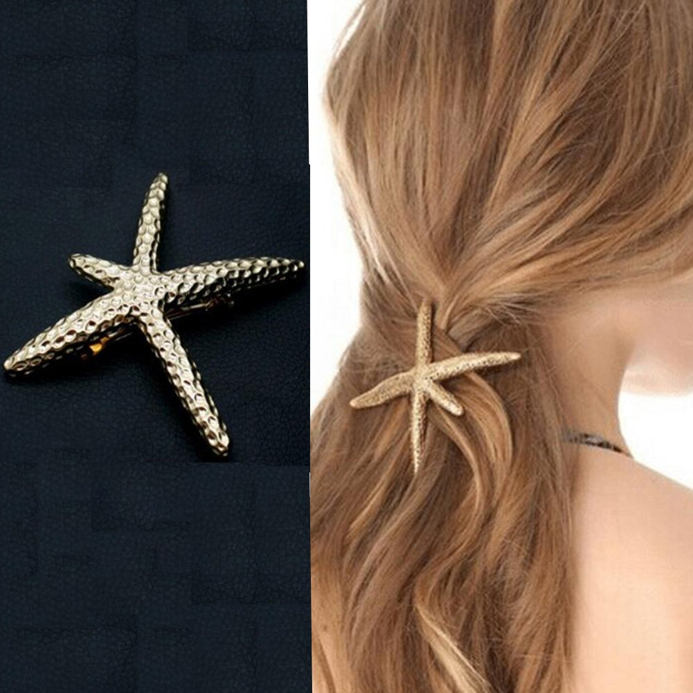 Ella-jewelry Fashion Stylish Metal Starfish Hairclip Special Sea Lover Star Hair Clip for Women Girl Baby Sun Run