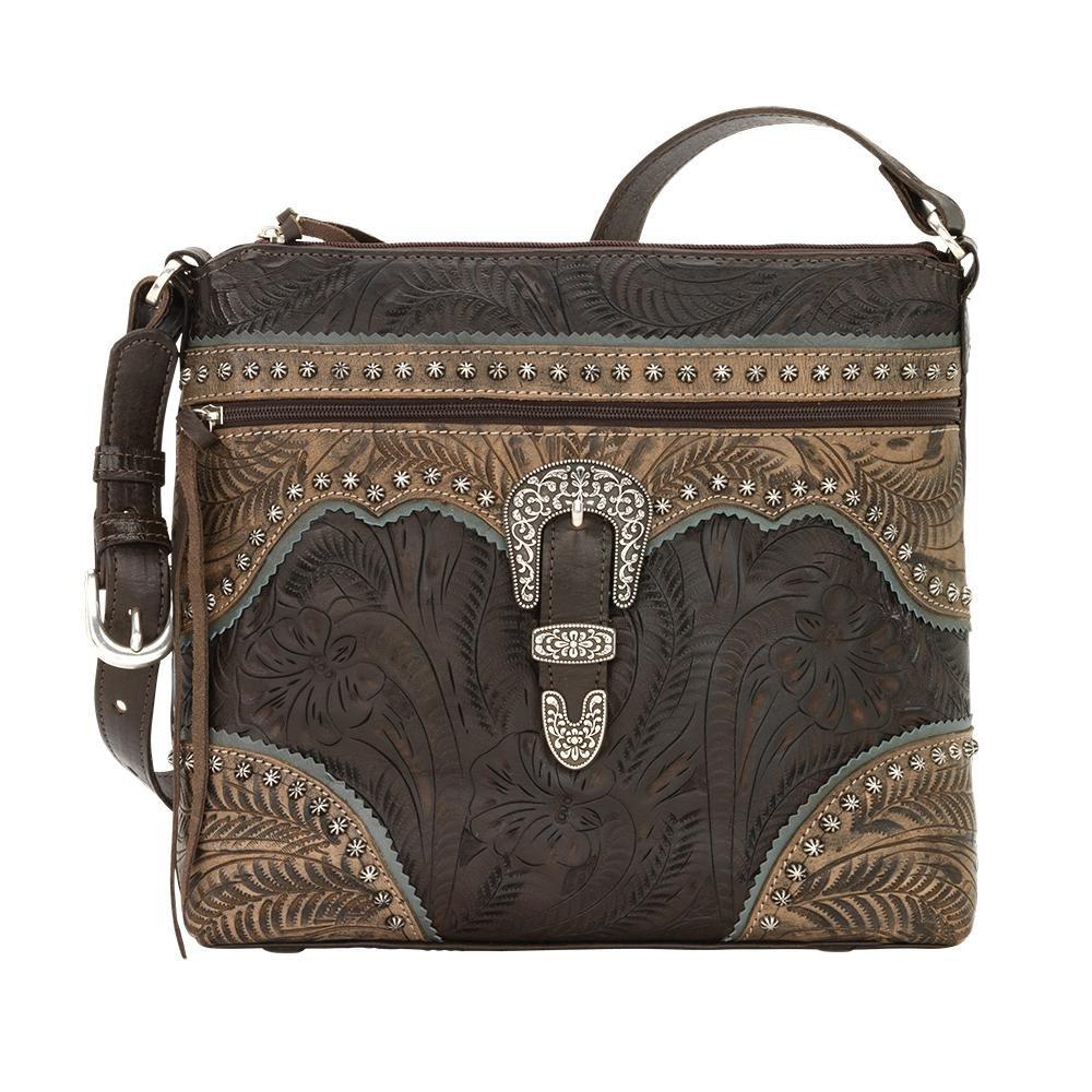 American West Women's Saddle Ridge Zip Top Shoulder Bag Chocolate One Size
