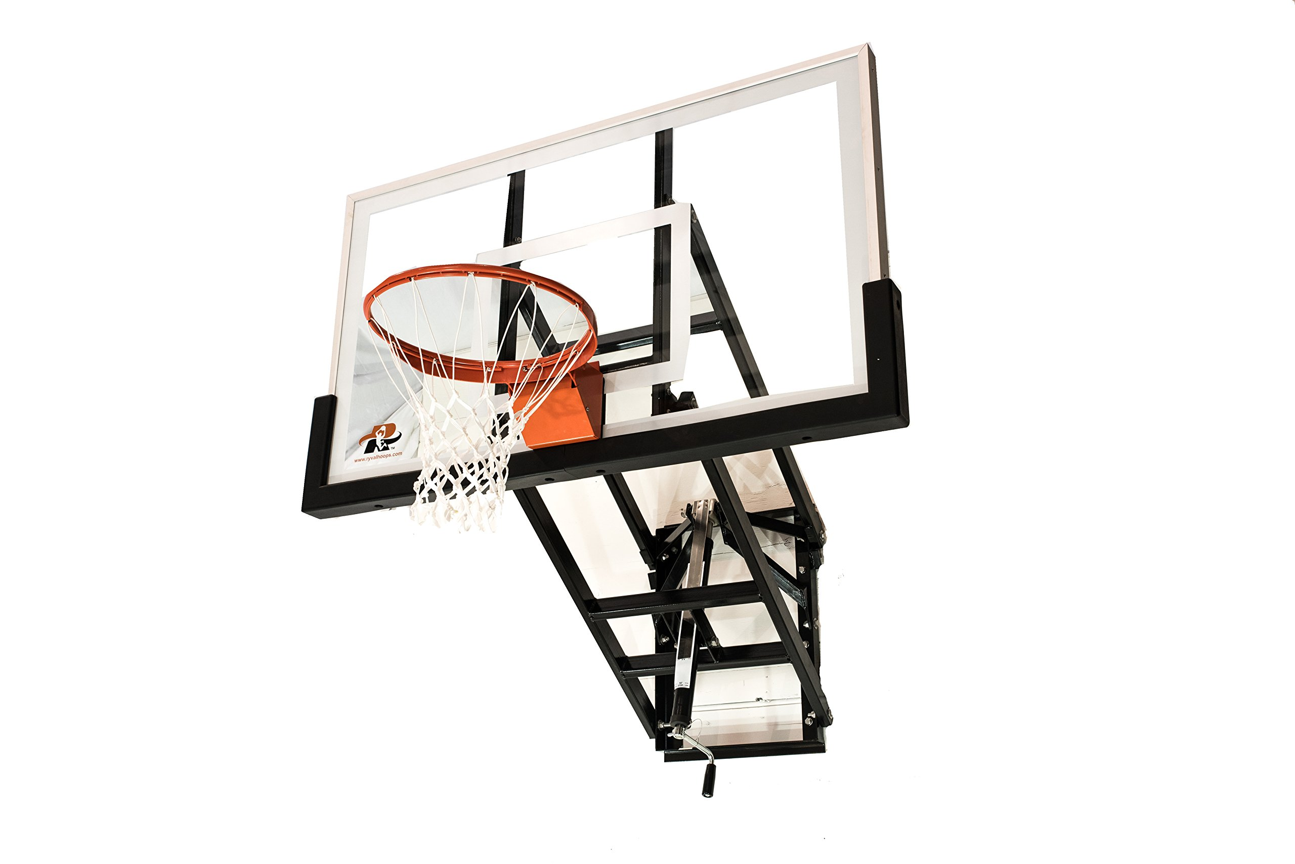 """Ryval WM60 Basketball Hoop - 60"""" Tempered Glass Backboard, Height Adjustable for Children & Adults, Wall Mounted Basketball Goal, Heavy Duty Flex Rim"""
